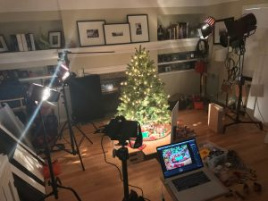 photo setup with hot lights