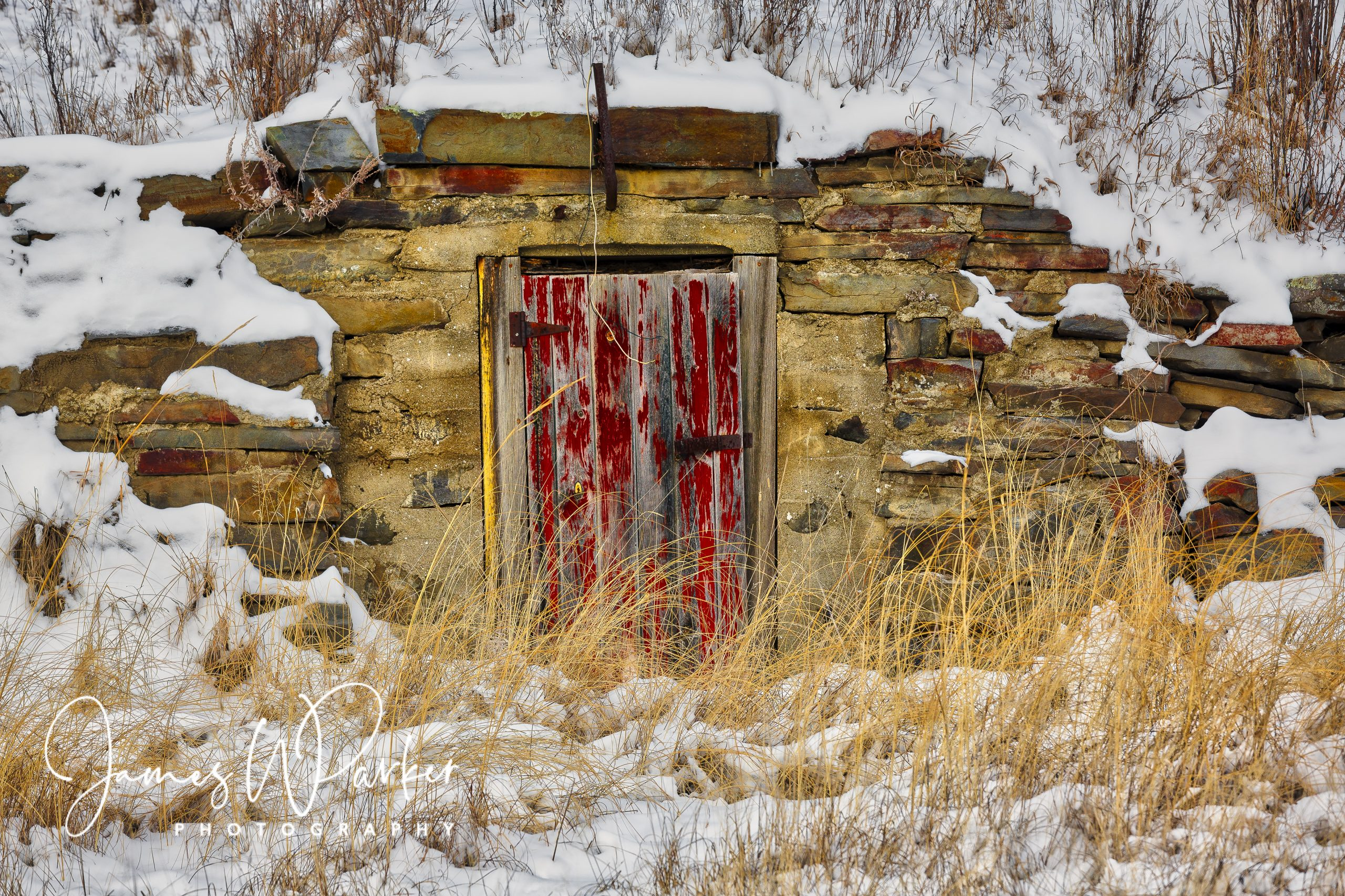 red door in snow