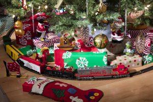 model train under Christmas tree